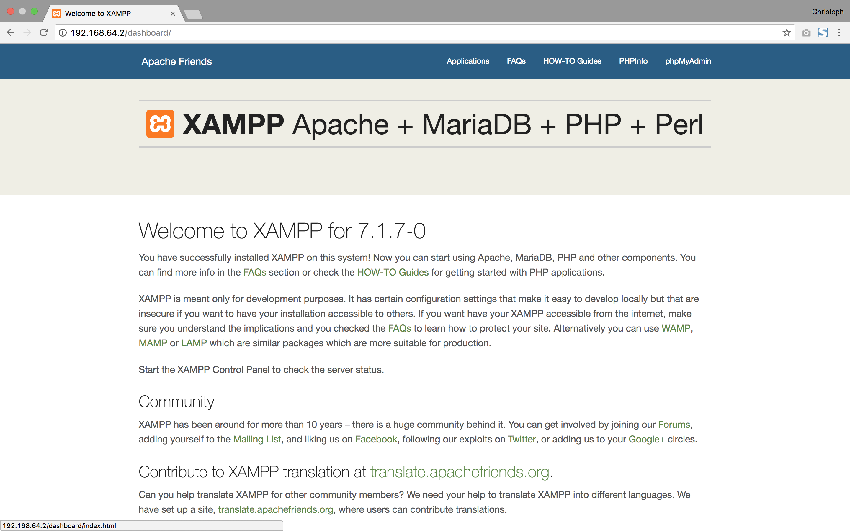 XAMPP On Mac OSX